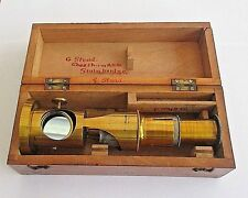 Antique Brass Field or Student Microscope with Original Wooden Box