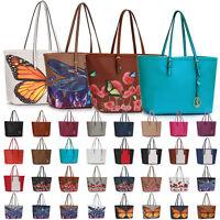 Large Floral Women Tote Faux Leather Designer Handbag Ladies Travel Shoulder Bag
