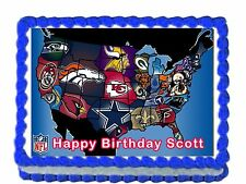"""NFL Map Edible image Cake topper decoration 7.5:""""x10"""" - personalized free!"""