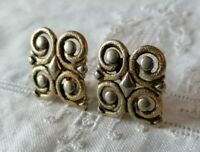 Vintage MONET Gold Tone Scroll Swirl Signed Statement Clip On Earrings