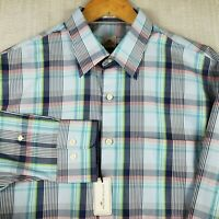 NWT PETER MILLAR $125 Large Mens Madras Plaid Cotton Button Down Front Shirt New