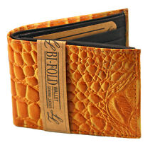 New Crocodile Print Mens Bifold Leather Wallet Yellow Flip Case Id Window Cards