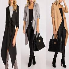 New Women Ladies Italian Fold Turn Up Sleeve Waterfall Belted Duster Coat Jacket