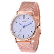 Ladies Fashion Geneve Quartz Rose Gold Tone White Dial Mesh Band Wrist Watch.