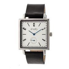 e8eb1b315856 Simplify 5000 Hombres Cuero Negro Cuadrado Plata Reloj de Cuarzo SIM5001