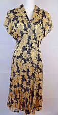Jones New York Collection Silk Rayon Blend Beige Gold Black Dress Size 14