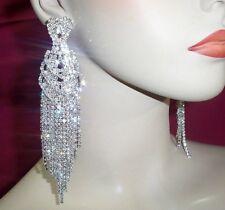"""Clear Rhinestone Chandelier Earrings Drag Queen Pageant  Clip On 5"""" E03"""