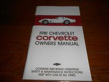 1981 CORVETTE CHEVROLET CAR OWNER MANUAL, '81 CHEVY 'VETTE