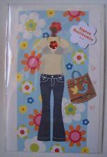 carte postale neuve relief décor 3D JOYEUX ANNIVERSAIRE femme fille vêtements