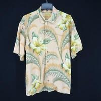Mens Tommy Bahama Pink Floral Hawaiian Camp Shirt Size XL Beach Short Sleeve