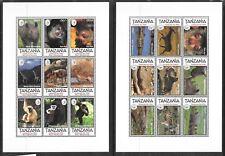 TANZANIA Sc 1327-8 NH MINISHEETS OF 1995 - WILD ANIMALS. SC $18