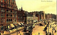 CN55. Vintage Postcard. Piccadilly, Manchester. Trams