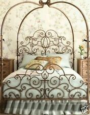 Ornate Elegant Victorian Style Canopy/Poster Iron Bed End Frame King Brass