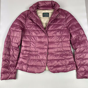 BENETTON LADIES SOFT LIGHT DOWN  RETRO PURPLE PUFFER JACKET COAT, Size UK10/S*