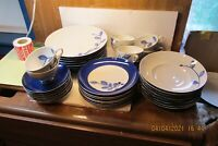 RARE 40pc 8 - 5 Place Settings Mikasa True Blue Oval Fine China  FREE SHIP USA