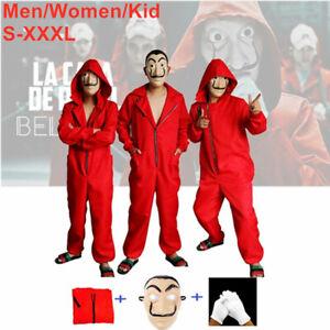 Halloween costume Adult Women Mens Kids La casa de papel  Money Heist JumpSuit