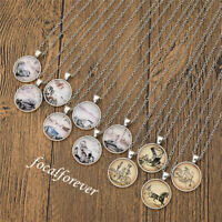 Vintage Car Pattern Cabochon Necklace Jewellery Souvenir Lovely Gift Long Chain
