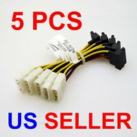 5PCS IDE/Molex 4-Pin Male To Serial ATA SATA 15-Pin Female Power Adapter Cable