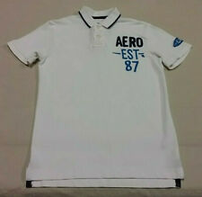 Men's AEROPOSTALE Short Sleeve Polo Shirt Size Small White Cali 100% Cotton EUC
