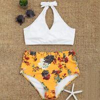Sexy Women Swimwear High Waist Bikini Set Swim 2 piece Halter Swimsuit Suit