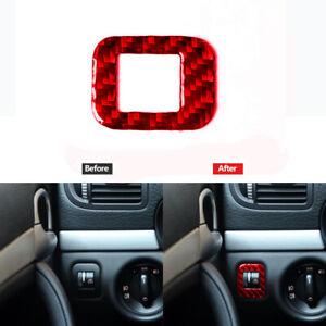 Red Carbon Fiber Dim Light Control Cover Trim Sticker For Porsche Cayenne 03-10