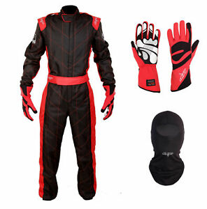 LRP Adult Kart Racing Suit Package - Black and Red