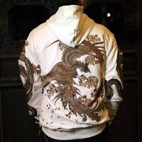Mens Hoodie Sweatshirt Japanese Pattern Embroidery Hooded Sweater Dragon Phoenix