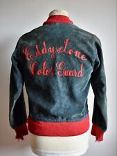 Vtg 50s 60s EDDYSTONE Chain Stitch Blue Corduroy Jacket Car Club Hot Rod 10/12