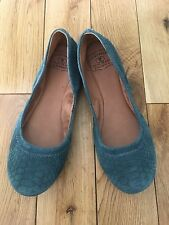 LUCKY BRAND SUEDE TEAL GREEN FLATS BALLERINA SHOES SIZE 7.5 Mint!