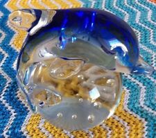 Vintage Blue Blown Art Glass Paperweight Porpoise on Ball Controlled Bubbles