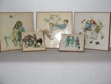 5 Vintage Norman Rockwell Kentucky Art Wood Plaque Print Tiles Circa 1950's