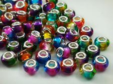 MIX 50pcs big hole charm Beads fit European Bracelet Chain Wholesale beaded m6