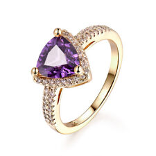Vintage Retro Triangle Amethyst 18K Yellow Gold Filled Women Lady Wedding Rings