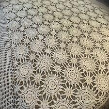 Vintage French Style Shabby Chic Boho Afghan Farmhouse Blanket Crochet Ivory