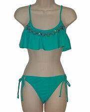 Hobie bikini set swimsuit size M blue flounce bra hipster 2 piece swimwear nwt
