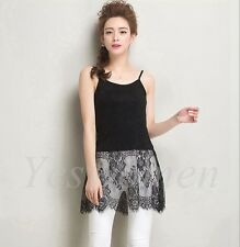 Lace Camisole Long Tank Top Extender Cami Shirt Extenders Trim Layering Tee