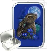 Blue Rabbit Gift Box,150ml Silver Hinged Tin,Tobacco Tin, Storage Tin