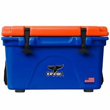 Orca Roto Molded 26 Quart 24 Can Insulated Ice Chest Cooler, Blue and Orange