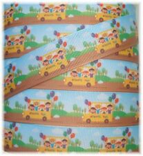 7/8 WHEELS ON THE BUS BACK TO SCHOOL HAPPY KIDS GROSGRAIN RIBBON 4 HAIRBOW BOW