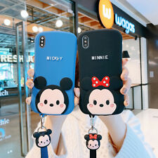 For iPhone Xs Max Xr 11 Pro 8 Disney Minnie Mickey Case Cover & Strap