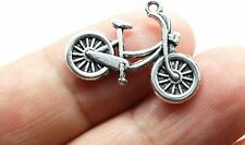 5 Bicycle Charms Antique Silver Tone Cycling Pendants Bike Findings 26mm