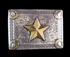 Western Jewelry Engraved Raised Gold Star Horseshoe Buckle