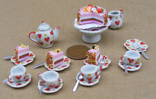 1:12 Scale Ceramic Heart Motif 23 Piece Tea Set With A Cake Tumdee Dolls House