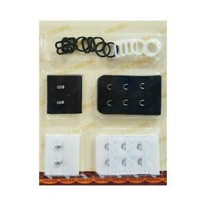 Bra Back Extender Strap Slides /& Rings Adapter Hook Soft Flexible Black /& White