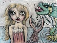Gothic Pink Mermaid 11 x 14 Art Giclee Print Signed by Artist KSams Sea Dragon