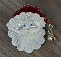Vintage Tanya Creations TC Silver Tone Santa Enamel Christmas Brooch Pin : Bell