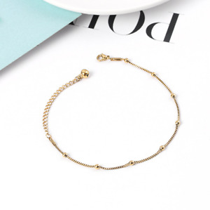 "Titanium Stainless Steel 14K Gold Beads Box Chain Anklet Bracelet 8-10"" PE14"