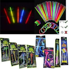 100 Neon Colours Glow Sticks Birthday Party Bag Fillers Favours Necklace Disco