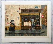 VINTAGE PENCIL SIGNED BRUCE BOMBERGER CAFE TABAC LIMITED ED. PRINT LITHOGRAPH