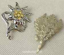 WWII WW2 German Metal Edelweiss Leaves Cap Badge Pin Insignia